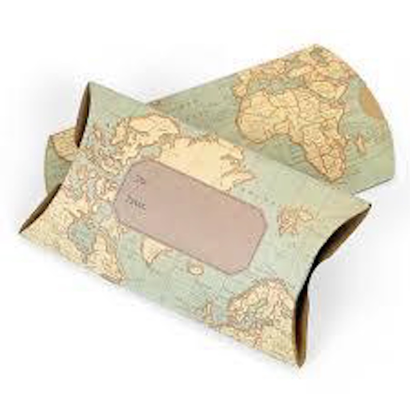 Map Themed Pillow Box