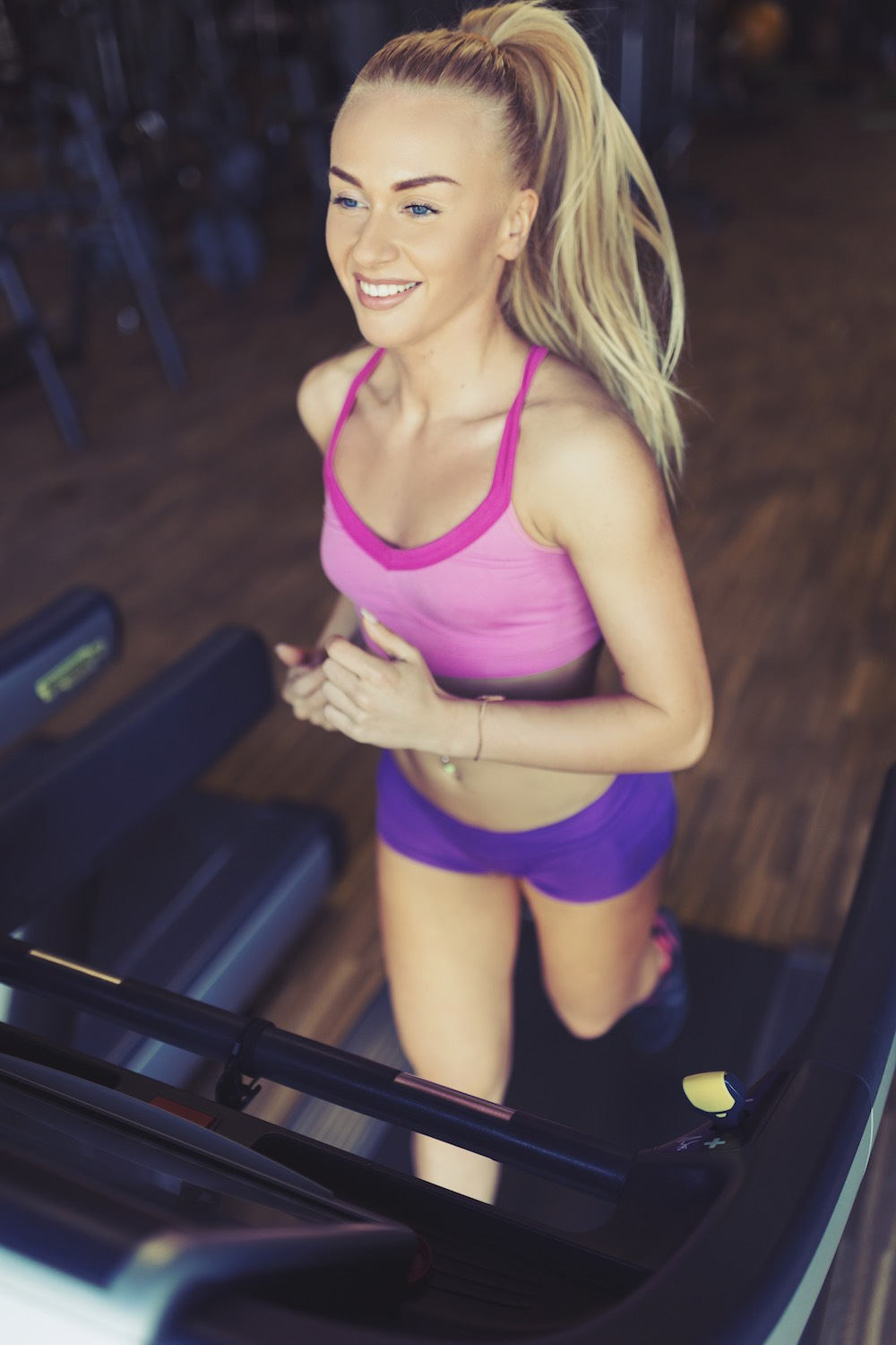 fitness girl running treadmill