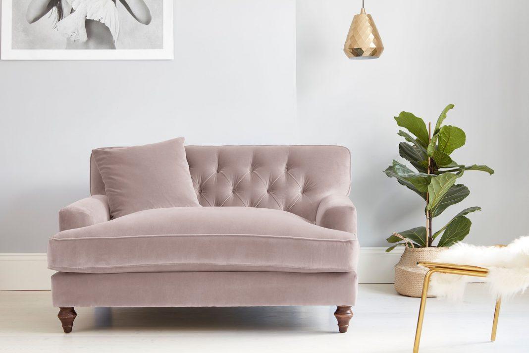 Darlings of Chelsea Charnwood Loveseat Easy Clean Plush Velvet Petal