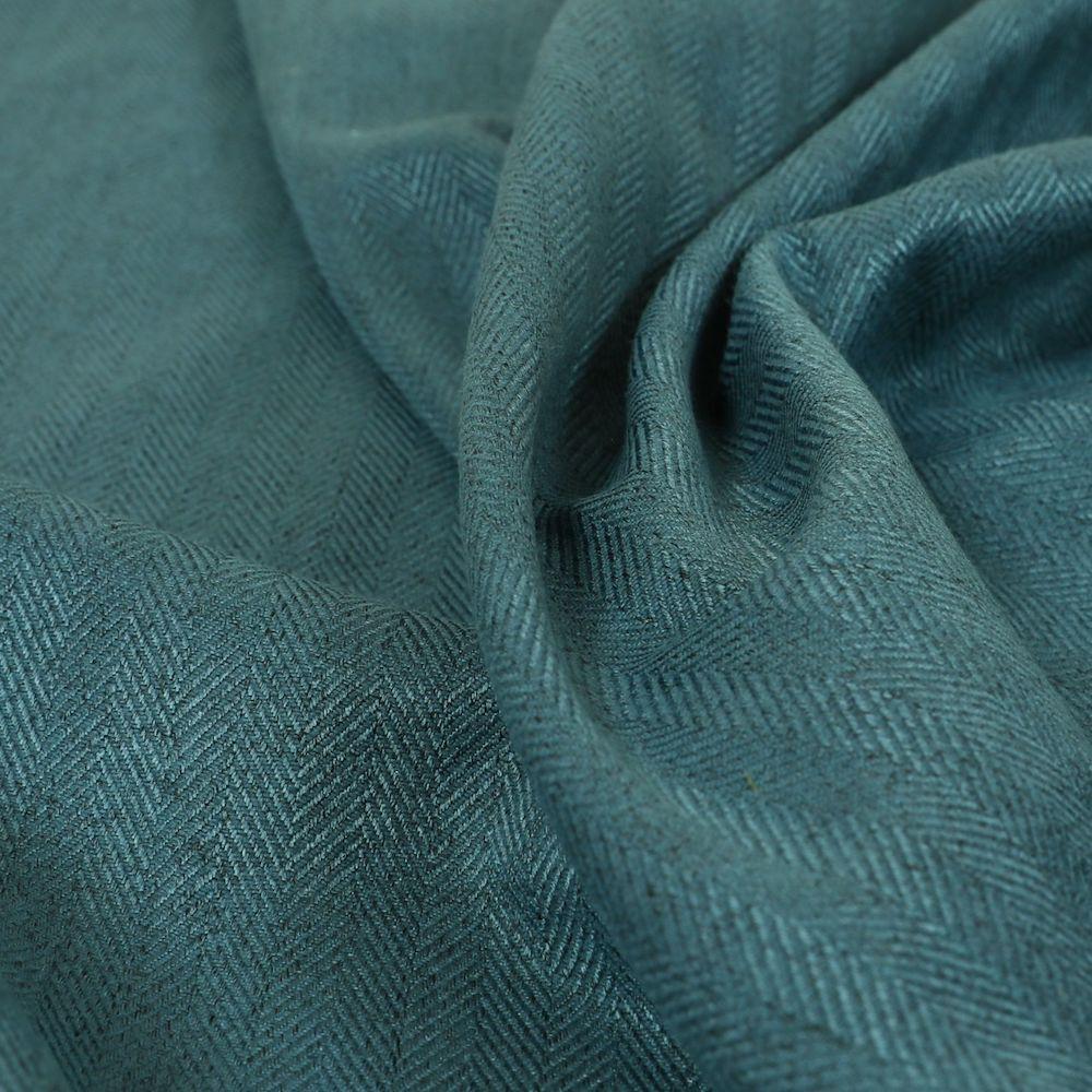 Aldwych Herringbone Soft Wool Textured Chenille Material Dark Blue Furnishing Fabric, £19.99