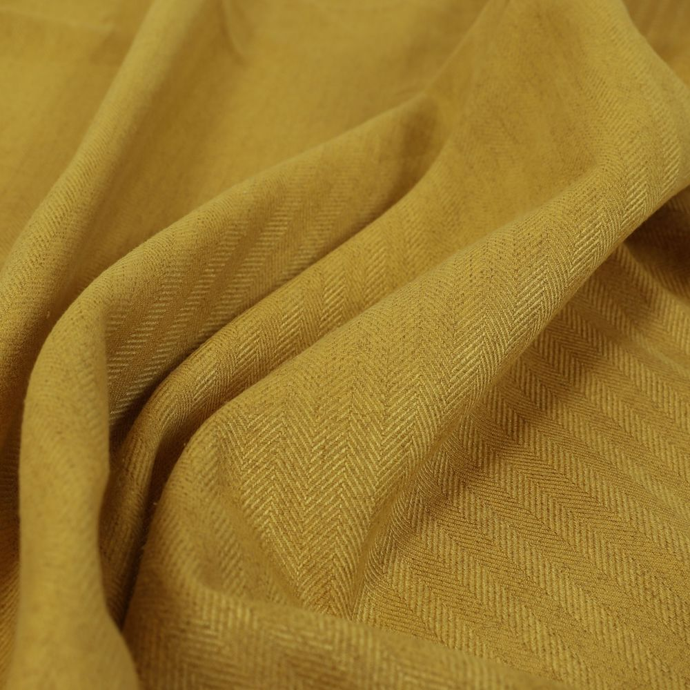 Aldwych Herringbone Soft Wool Textured Chenille Material Yellow Furnishing Fabric, £19.99